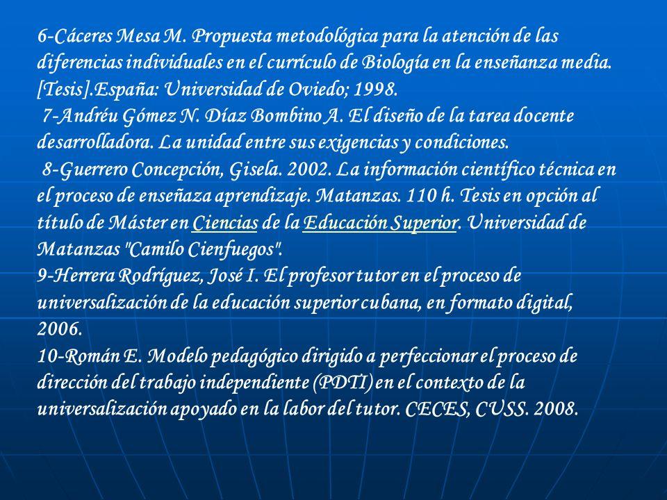 6-Cáceres Mesa M. Propuesta metodológica para la atención de las diferencias individuales en el currículo de Biología en la enseñanza media. [Tesis].España: Universidad de Oviedo; 1998.